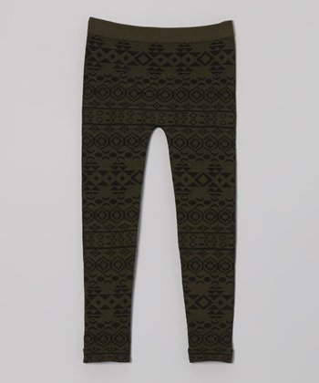 Olive Green Geometric Leggings - Girls