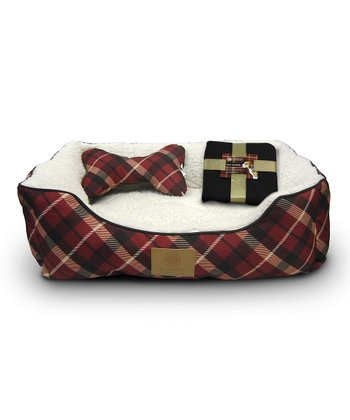 Red Plaid Pet Bed Set