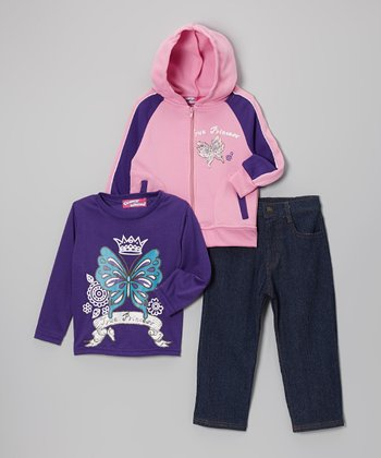 Blue Butterfly Star Zip-Up Hoodie Set - Infant, Toddler & Girls