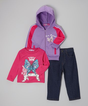 Pink Star Zip-Up Hoodie Set - Infant, Toddler & Girls