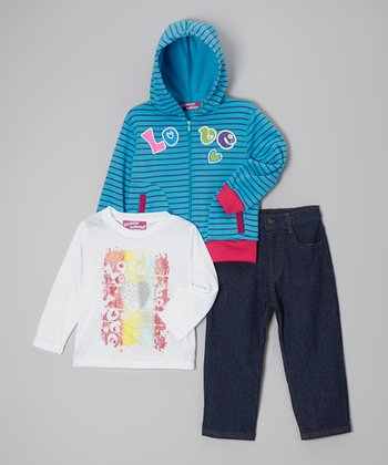 Blue 'Love' Zip-Up Hoodie Set - Toddler & Girls