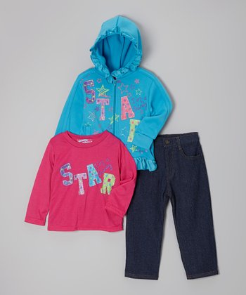 Hot Pink 'Star' Zip-Up Hoodie Set - Toddler & Girls