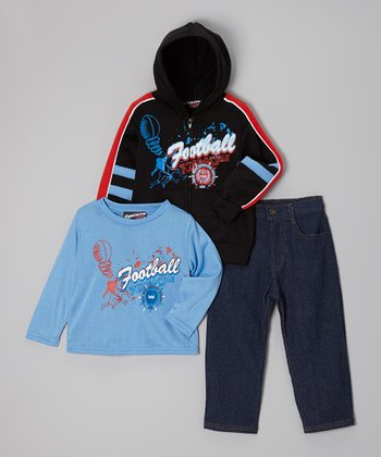 Blue Football Zip-Up Hoodie Set - Toddler