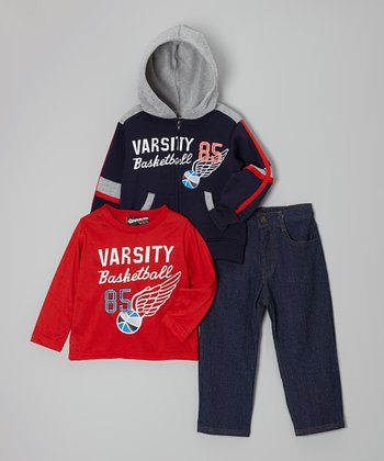 Navy Blue 'Varsity Basketball' Zip-Up Hoodie Set - Toddler & Boys