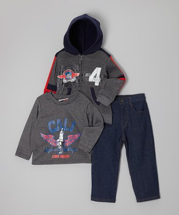 Dark Gray 'Speed Shop' Zip-Up Hoodie Set - Toddler & Boys