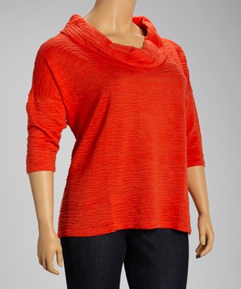 Fire Orange Pinched Cowl Neck Top - Plus