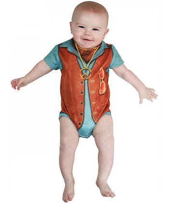 Blue & Brown 1970s Hairy Chest Bodysuit - Infant