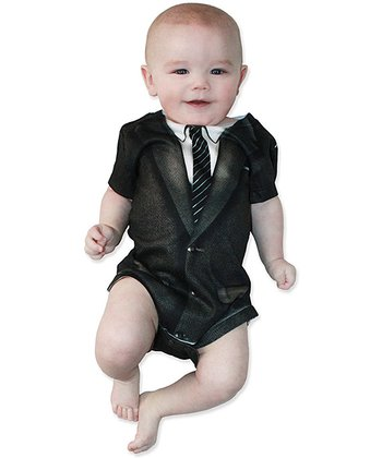 Black & White 1960s Suit Bodysuit - Infant