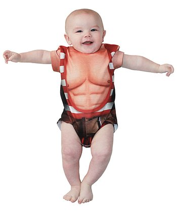 White & Red Stripe Strongman Bodysuit - Infant