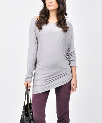 Grape Corduroy Under-Belly Maternity Skinny Pants