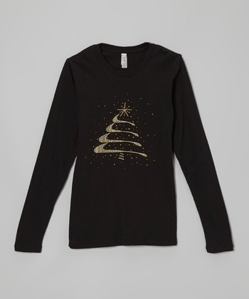 Black Rhinestone Christmas Tree Tee - Women