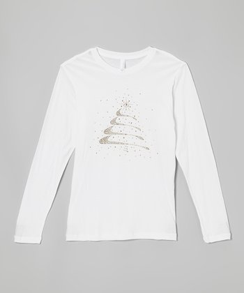 White Rhinestone Christmas Tree Tee - Women