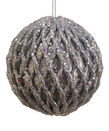 Silver Textured Glitter Ball Ornament