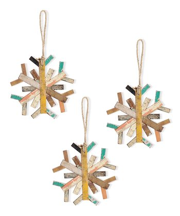 Recycled Wood Snowflake Ornament – Set of 3