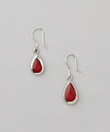 Red Jasper & Sterling Silver Teardrop Earrings