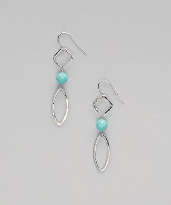 Turquoise & Sterling Silver Geometric Drop Earrings