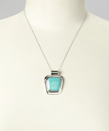 Turquoise & Sterling Silver Rectangle Pendant Necklace