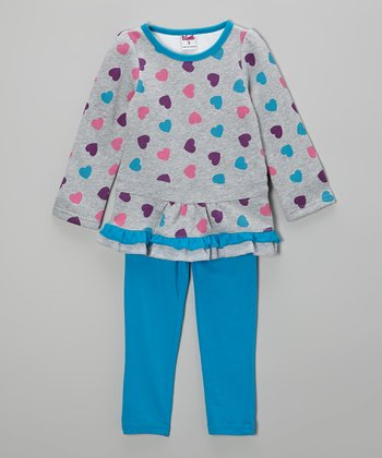 Gray Heart Ruffle Tunic & Blue Leggings - Toddler & Girls