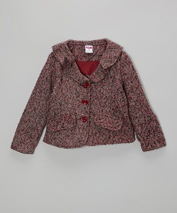 Maroon Tweed Blazer - Toddler & Girls