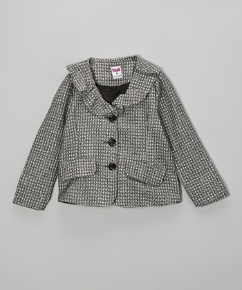 Gray & Black Tweed Blazer - Toddler & Girls
