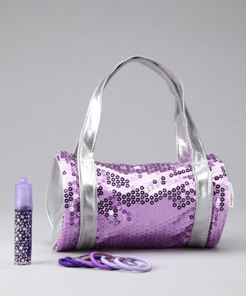 Purple Sequin Shoulder Bag Set