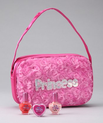 Hot Pink Furry 'Princess' Purse Set