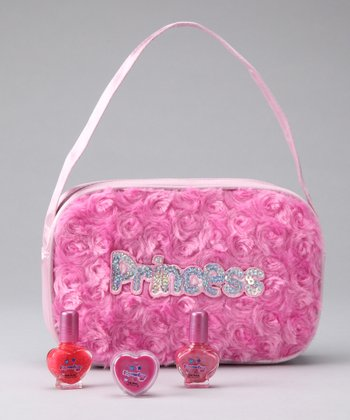 Pink Furry 'Princess' Purse Set