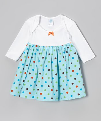 Light Blue & White Polka Dot Lap-Neck Dress - Infant