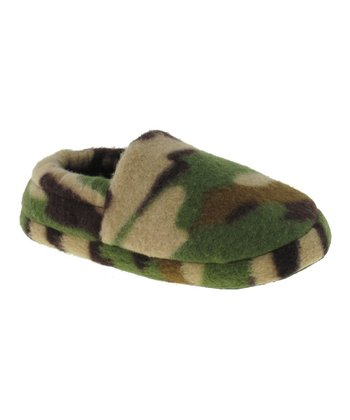 Tan & Green Camo Slippers - Kids