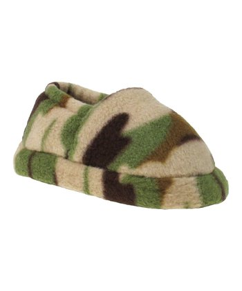 Tan & Green Camo Slipper - Kids