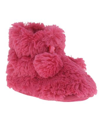 Fuchsia Pom-Pom Slipper Boot - Kids