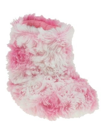 Pink Rosette Swirl Slipper Boot - Kids