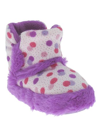 Purple & White Dots Slipper Boot - Kids