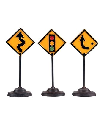 Yellow Traffic Sign Décor Set