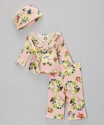 Pink Hawaiian Organic Wrap Top Set - Infant