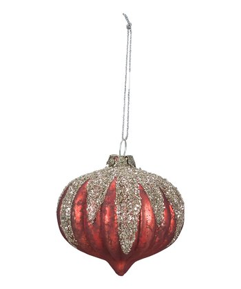 Red Snow Cap Glass Ornament