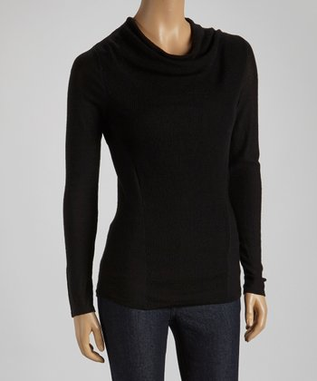Black Wool Cowl Neck Sweater