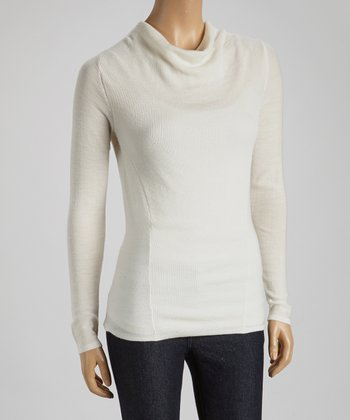 Winter White Wool Cowl Neck Sweater