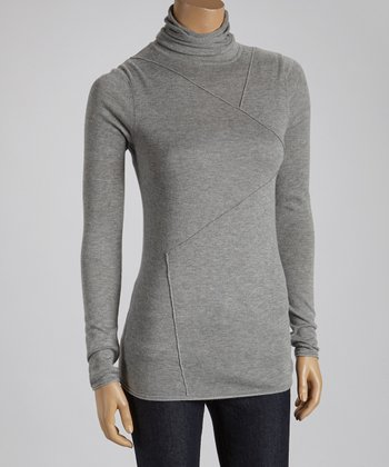 Heather Gray Stitched Turtleneck