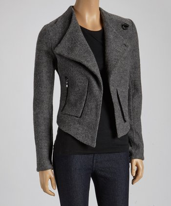Charcoal Asymmetrical-Zip Wool Coat