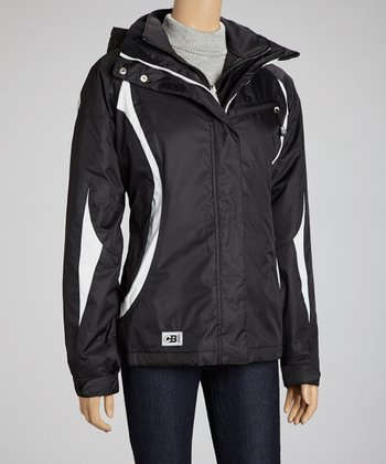 Black & White Hooded Convertible Coat - Women