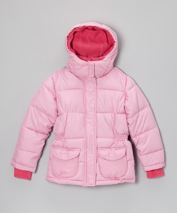 Pink Cargo Hooded Puffer Coat - Girls