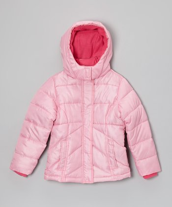 Pink Chevron Hooded Puffer Coat - Girls