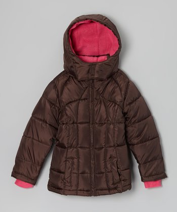 Brown Hooded Puffer Coat - Girls