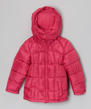 Fuchsia Hooded Puffer Coat - Girls