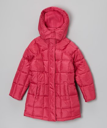 Fuchsia Long Hooded Puffer Coat - Girls