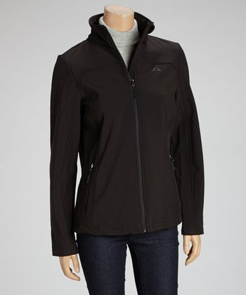 Black Contrast-Sleeve Jacket - Women