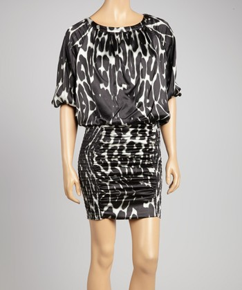 Black Leopard Ruched Dress