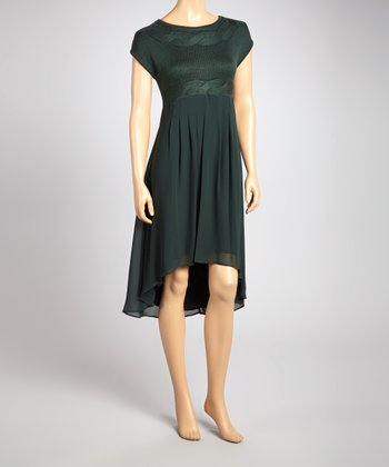 Dark Green Hi-Low Dress
