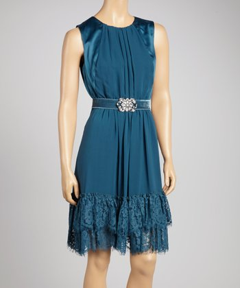 Teal Lace Belted Sleeveless Dress